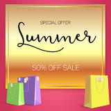 Summer sale ad, selling banner on gold background. Paper shopping bags with labels purchased items. Bright, noticeable. Selling banner ad. Advertising sign with Stock Photos
