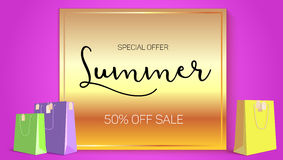 Summer sale ad, selling banner on gold background. Paper shopping bags with labels purchased items. Bright, noticeable. Selling banner ad. Advertising sign with Royalty Free Stock Image