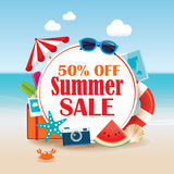 Summer sale background banner design template with colorful beac. H and object vacation elements Royalty Free Stock Images