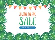 Summer sale background banner, Festival bunting ribbons hanging on the green exotic palm leaves and tropical plants. Vector. An illustration set for your web Royalty Free Stock Photos