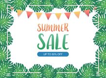 Summer sale background banner, Festival bunting ribbons hanging on the green exotic palm leaves and tropical plants. Vector. An illustration set for your web Royalty Free Stock Image