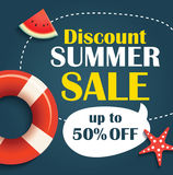 Summer sale background banner template. Voucher discount promoti. On Royalty Free Stock Images