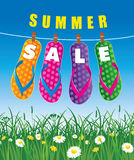 Summer sale background with beach flip and grass Royalty Free Stock Images