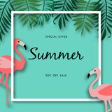 Summer sale background with beautiful flamingo bird, vector illustration template. Summer sale blue background with beautiful flamingo bird, pink bird, leave stock illustration