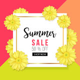 Summer sale background with beautiful yellow flower. Vector illustration template. Banners. Wallpaper. Flyers royalty free illustration