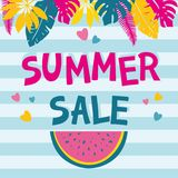 Summer sale background with colorful tropical and palm leaves Royalty Free Stock Image