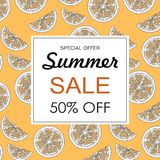 Summer sale background layout banners decorate with hand drawn orange. Vector illustration Stock Photo