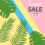 Summer sale background with leaf Memphis style royalty free illustration