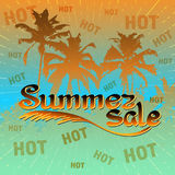 Summer sale background with palm. Vector illustration. Summer sale background with palm. Vector illustration for banner, poster, flyer, card.  Business seasonal Stock Photo