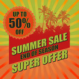 Summer sale background with palm. Vector illustration. Summer sale background with palm. Vector illustration for banner, poster, flyer, card.  Business seasonal Stock Images