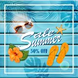 Summer sale background. Vector illustration stock illustration