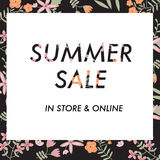 Summer sale background with vintage flowers Stock Photography