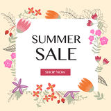 Summer sale background with vintage flowers Stock Image