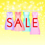 Summer sale background with vivid party dress. Vector background for banner, poster, flyer, card, postcard, cover. Brochure. Four prom gowns with sale text Royalty Free Stock Image