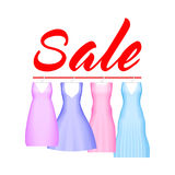 Summer sale background with vivid party dress. Vector background for banner, poster, flyer, card, postcard, cover. Brochure. Four prom gowns with sale text Stock Photography