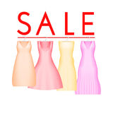 Summer sale background with vivid party dress. Vector background for banner, poster, flyer, card, postcard, cover. Brochure. Four prom gowns with sale text Royalty Free Stock Photo