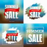 Summer sale badge, label, promo banner template. Special offer t. Ext on ribbon. Vector illustration vector illustration