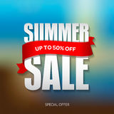 Summer sale badge, label, promo banner template. Up to 50% off text Stock Photos