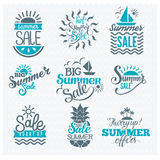 Summer sale badge vector. Summer sale logo clearance element vector badges isolated. Some shopping big mega hand drawn collection of labels. Vector set of comic Stock Photo