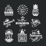 Summer sale badge vector. Summer sale logo clearance element vector badges . Some shopping big mega hand drawn collection of labels. Vector set of comic speech Royalty Free Stock Photo
