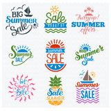 Summer sale badge vector. Summer sale logo clearance element vector badges . Some shopping big mega hand drawn collection of labels. Vector set of comic speech Royalty Free Stock Images