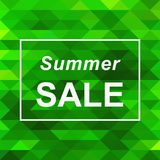 Summer sale banner on abstract green triangle background. Vector illustration. Summer sale banner template on abstract green triangle mosaic background. Vector stock illustration