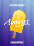 Summer sale banner, advertisement, card, poster etc. Background with trendy stripes and ice cream Stock Photography
