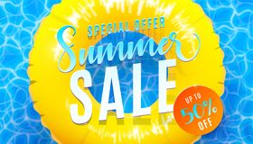 Summer sale banner background with blue water texture and yellow pool float. Vector illustration of sea beach offer. Summer sale banner background with blue Royalty Free Stock Photo
