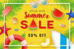 Summer sale banner background design Royalty Free Stock Photo
