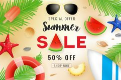 Summer sale banner background design with summer decoration Royalty Free Stock Images