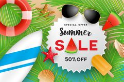 Summer sale banner background design Royalty Free Stock Photography