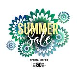 Bright summer sale banner, poster in trendy design. Summer sale banner background layout with flowers. Easy editable for Your design Stock Photos