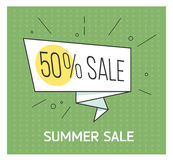 Summer sale banner. Big discount. Retro comic style. Vector illustration. Vintage bubble on the red background. Royalty Free Stock Photography