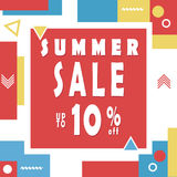 Summer sale banner for booklet, flyer, poster, advertising logo, leaflet for the store template design. The modern image. Royalty Free Stock Photo