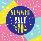 Summer sale 70% banner for booklet, flyer, poster, advertising. Royalty Free Stock Image