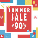 Summer sale banner for booklet, flyer, poster, advertising logo, leaflet for the store template design. The modern image for socia. L media. Memphis Style Royalty Free Stock Image