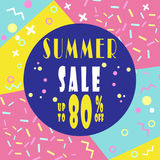 Summer sale 80% banner for booklet, flyer, poster, advertising logo, leaflet for the store template design. The modern image/. Summer sale 80% banner for booklet Royalty Free Stock Images