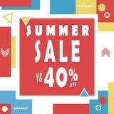 Summer sale banner for booklet, flyer, poster, advertising logo, leaflet for the store template design. The modern image. For social media. Memphis Style Stock Photography