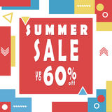 Summer sale banner for booklet, flyer, poster, advertising logo, leaflet for the store template design. The modern image. For social media. Memphis Style Royalty Free Stock Photo