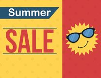 Summer sale banner with cartoon sun wearing glasses. Summer sale banner design with cartoon sun wearing glasses Royalty Free Stock Image
