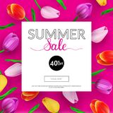 Summer sale banner with colorful background and tulips. Vector illustration. EPS 10 vector illustration