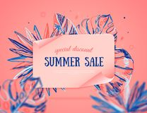 Summer sale banner with colorful tropical leaves on background, exotic pink design for site banner,poster, promotion. vector illustration