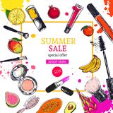 Summer sale banner. Cosmetics and beauty background with make up artist objects: lipstick, cream, brush. With place for your text .Template Vector Stock Photo