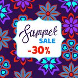 Summer sale. Banner decorated with flowers. Bright Vector illustration vector illustration
