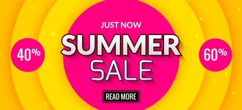 Summer sale banner design. Market discount clearance. Summer sale hot offer poster.  Royalty Free Stock Photos