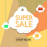 Summer sale banner design for promotion with shopping icons. Royalty Free Stock Image