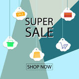 Summer sale banner design for promotion with shopping icons. Stock Images