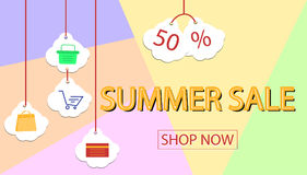Summer sale banner design for promotion with shopping icons Stock Photography