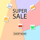 Summer sale banner design for promotion with shopping icons. Vector illustration Stock Photos
