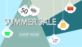 Summer sale banner design for promotion with shopping icons. Royalty Free Stock Images